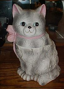 Vintage grey persian kitten cat cookie jar  pink bow