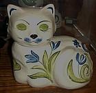 Vintage Los Angeles Potteries white cat cookie jar