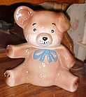 Vintage brown teddy bear cookie jar with blue tie