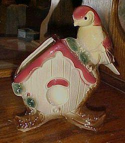 Rare Royal Copley Bird on birdhouse planter