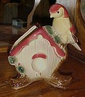 Rare Royal Copley Bird on birdhouse planter
