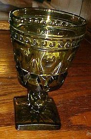 "Indiana Glass Park Lane avocado green wine glass 4 1/2"""