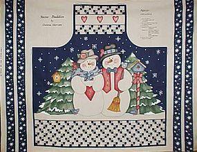 Crafters Preprinted Snowmen Christmas Apron panel