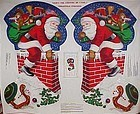 Preprinted Giant Stocking panel Santa and chimney 34""