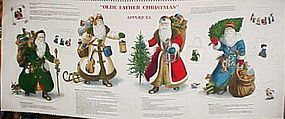 Olde Father Christmas applique pre-printed fabric panel