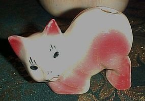 Vintage kitty cat toothbrush holder reddish pink