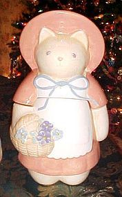 Treasure Craft country Kitty cat cookie jar  w/ flowers