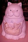 Ceramic kitty cat with fish in apron cookie jar