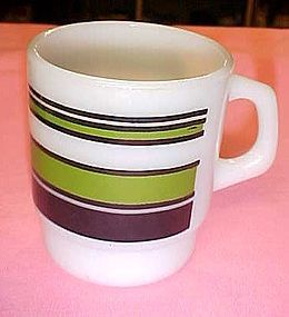 Vintage Fire King green and black stripe stacking mug
