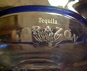 Corazon Tequila hand blown margarita glass cobalt rim