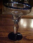Corazon Tequila hand blown margarita glass cobalt rim