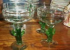"4 Hand Blown cactus stem Margarita glasses 7"" Mexico"