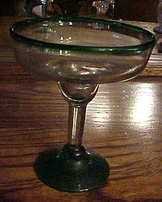 Hand blown Novica Mexico margarita glass green rim