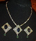 Vintage filigree aquamarine necklace and clip earrings