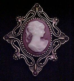 Vintage costume Cameo pin with rhinestones