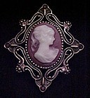 Vintage costume Cameo pin with rhinestones
