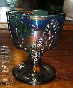Indiana Harvest blue carnival footed sugar bowl