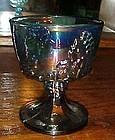 Indiana Harvest blue carnival footed sugar bowl