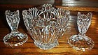 Three piece crystal bowl and candle holders set