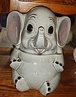Vintage Doranne sitting grey elephant cookie jar  CJ144