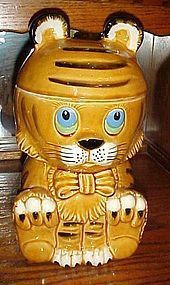 Vintage Japan  ceramic tiger kitty cookie jar
