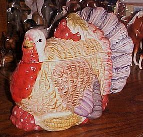 Colorful ceramic Turkey cookie jar
