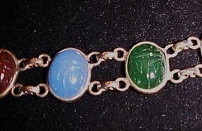 Vintage semi precious stone scarab bracelet gold tone