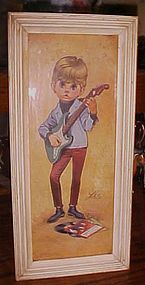 Lee Big Eyes print  boy and guitar Beatles records