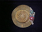 Signed Ciner filigree floppy hat brooch pin rhinestones