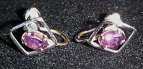 Van Dell Sterling silver  amethyst screw back earrings