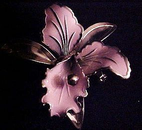 1950's pink orchid brooch pin