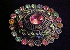 Antique rhinestone enamel flower brooch Little Nemo