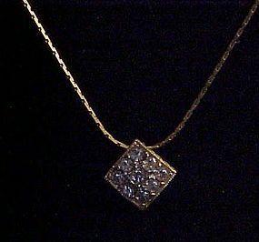 Vintage Napier gold tone necklace with rhinestone slide