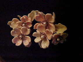 Old plastic pink  floral earrings clip backs