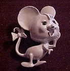 Adorable vintage white mouse pin bow on tail