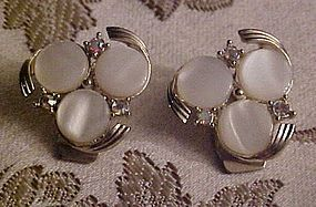Vintage Judy Lee white moonglow clip earrings