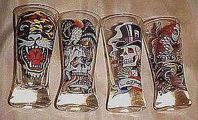 Set of 4 Ed Hardy tall shot glasses, Skulls, tiger, ect