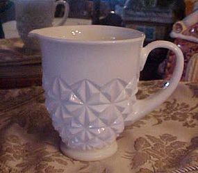 Vintage milk glass pitcher with diamond pattern