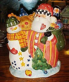 JC Penny Home Santa's Helpers ceramic cookie jar MIB