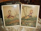 Vintage framed prints little boy fishing and girl