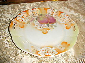 Antique Germany lustre plate with plums and blossoms