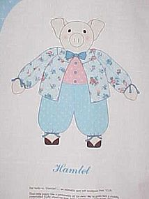 Uncut Cranston craft sewing panel Hamlet the pig doll