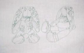 Uncut preprinted sewing craft panel Victorian bunny
