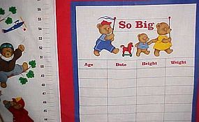 Uncut fabric sewing craft panel Teddy bear growth chart