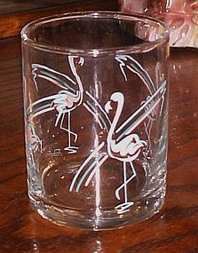 Vintage Panache old fashioned 3 7/8 flamingo's glass