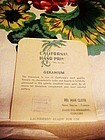 Vintage California hand prints geranium table cloth MIB