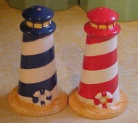 Ceramic lighthouse salt and pepper shakers nautical