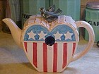 Dept 56 Americana heart birdhouse teapot with bluebird