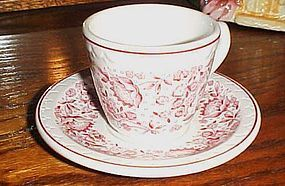 Syracuse red Roxbury railroad china cup and saucer