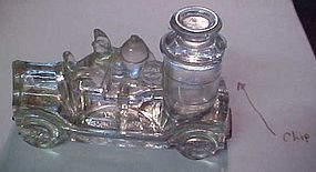 Antique  Avor glass fire truck candy container